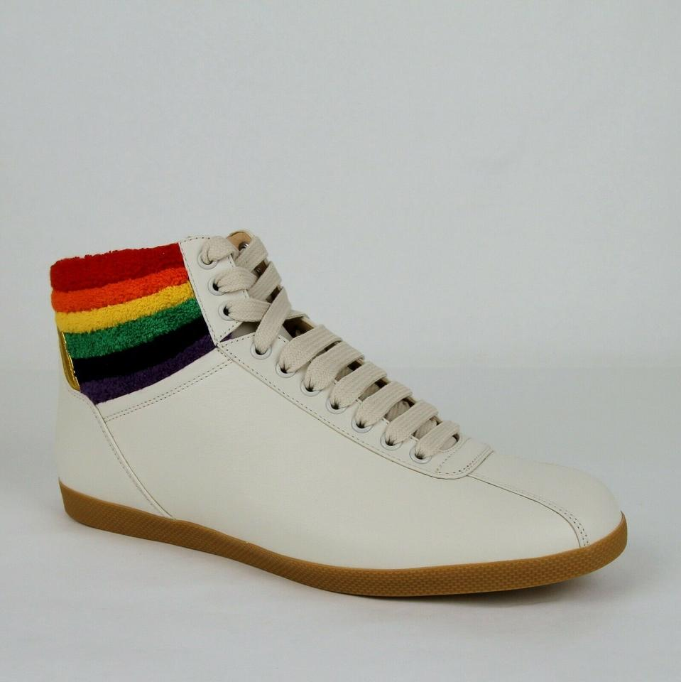 54b6e848ab7 Gucci Cream Men s Leather Rainbow Hi-top Sneaker 9g Us 10 473375 9080 Shoes