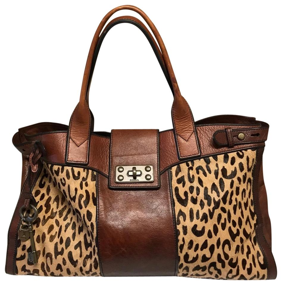 Fossil Vintage Reissue Haircalf Weekender Brown Tan Leather Tote