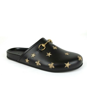 Gucci Black Horsebit Leather Bee and Star Slipper Sandal 10/Us 10.5 497008 100 Shoes