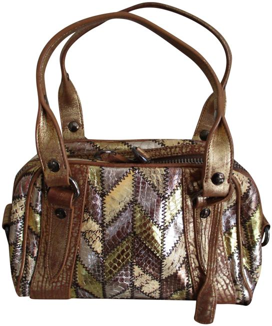 Item - Snake Print Small Bronze and Gold Metallic Leather Satchel