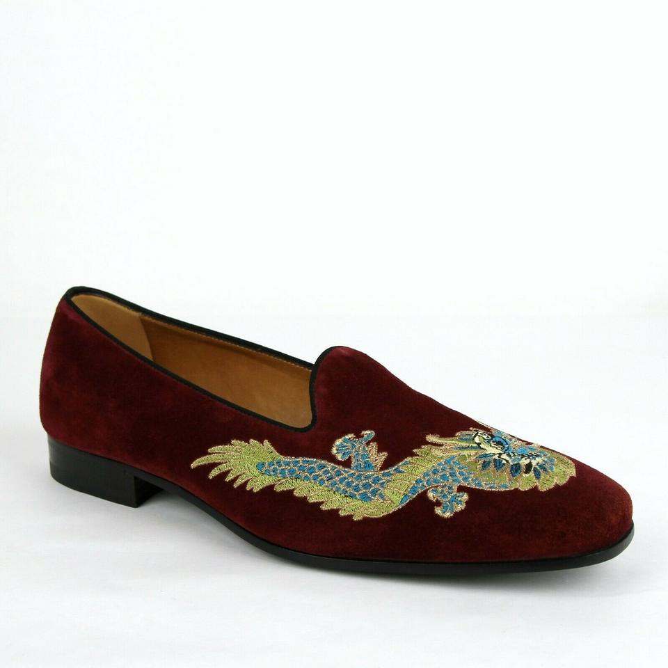 21f88b4d1 Gucci Burgundy W Suede Loafer W/Embroidered Dragon 7.5/Us 8 496251 5060  Shoes