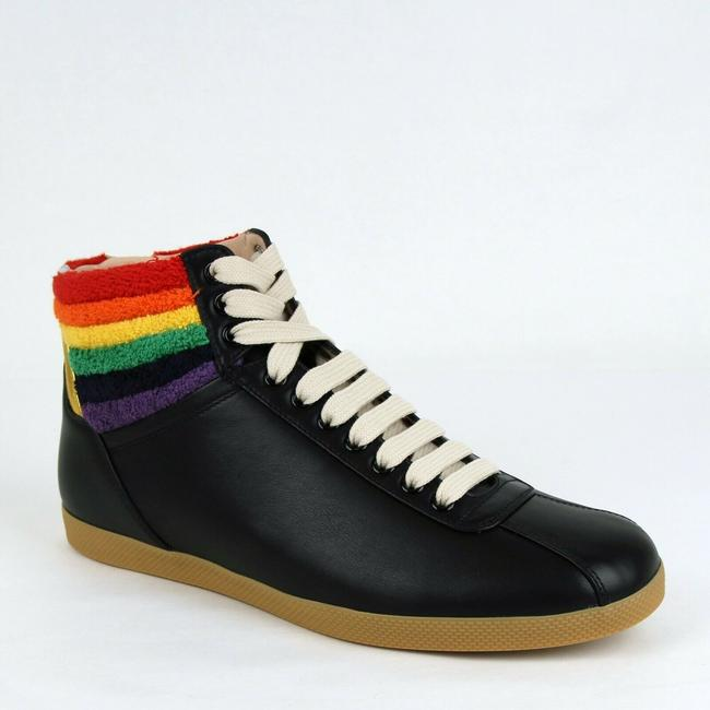 Gucci Black Men's Leather Rainbow Hi-top Sneaker 8g/Us 9 473375 1079 Shoes Gucci Black Men's Leather Rainbow Hi-top Sneaker 8g/Us 9 473375 1079 Shoes Image 1
