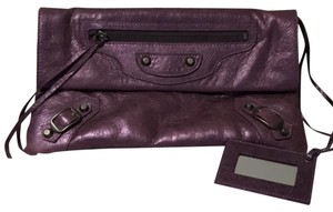 Balenciaga #classic #envelope Metallic Purple Clutch