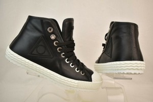 Jimmy Choo Black Seb Leather Rubber Cap Toe Lace Up Hi Top Sneakers 46 13 Shoes