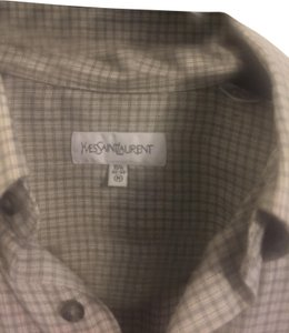 Saint Laurent Button Down Shirt gray and white