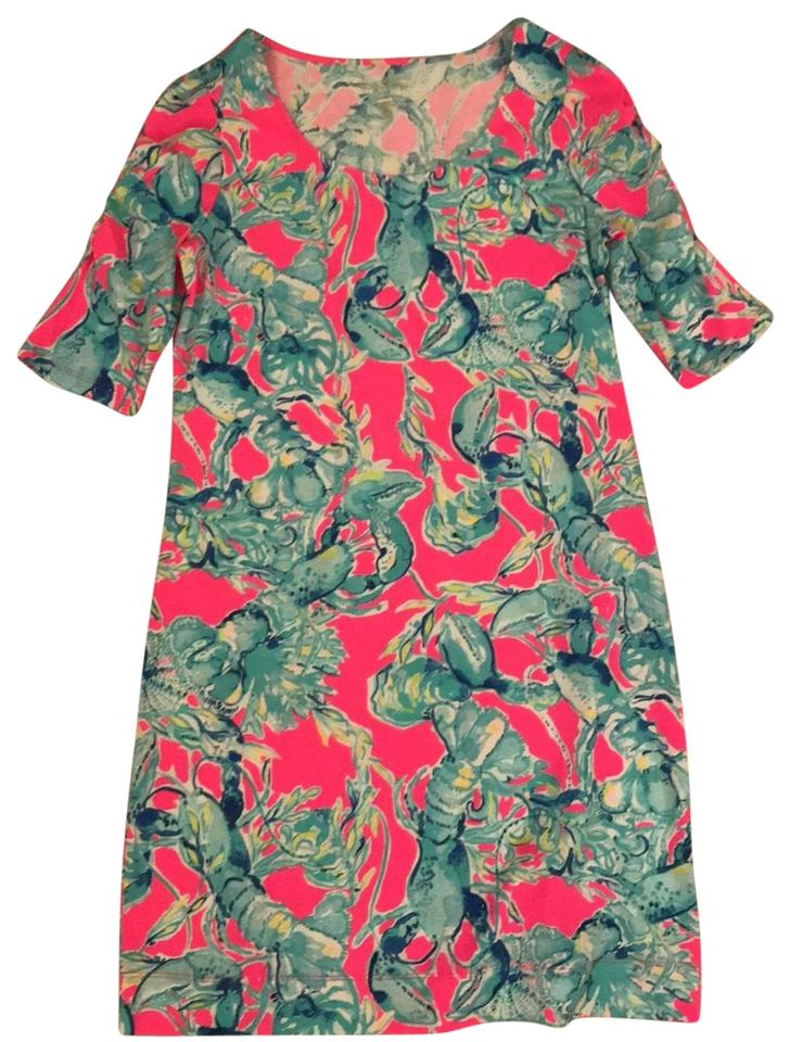fa80e9ea6270a Lilly Pulitzer Pink Blue Lobster Print Short Casual Dress Size 8 (M ...