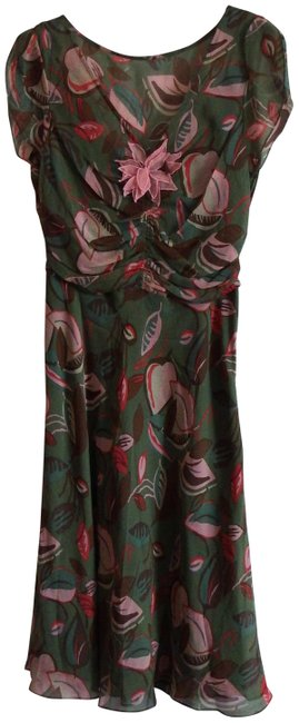 Item - Olive/Peach/Brown Floral Print Mid-length Night Out Dress Size 8 (M)