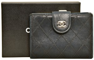 "Chanel 4.65"" Inch Black Quilted Lamb Leather Bifold Wallet with Box"