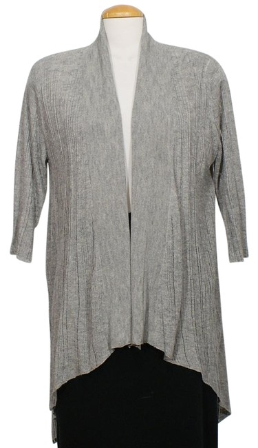 Item - Silver Gray XS Linear Karma Texture Ribbed Shaped Cardigan Size 2 (XS)