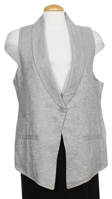 Item - Silver Gray Twinkle Linen Woven Shawl Collar M Vest Size 10 (M)