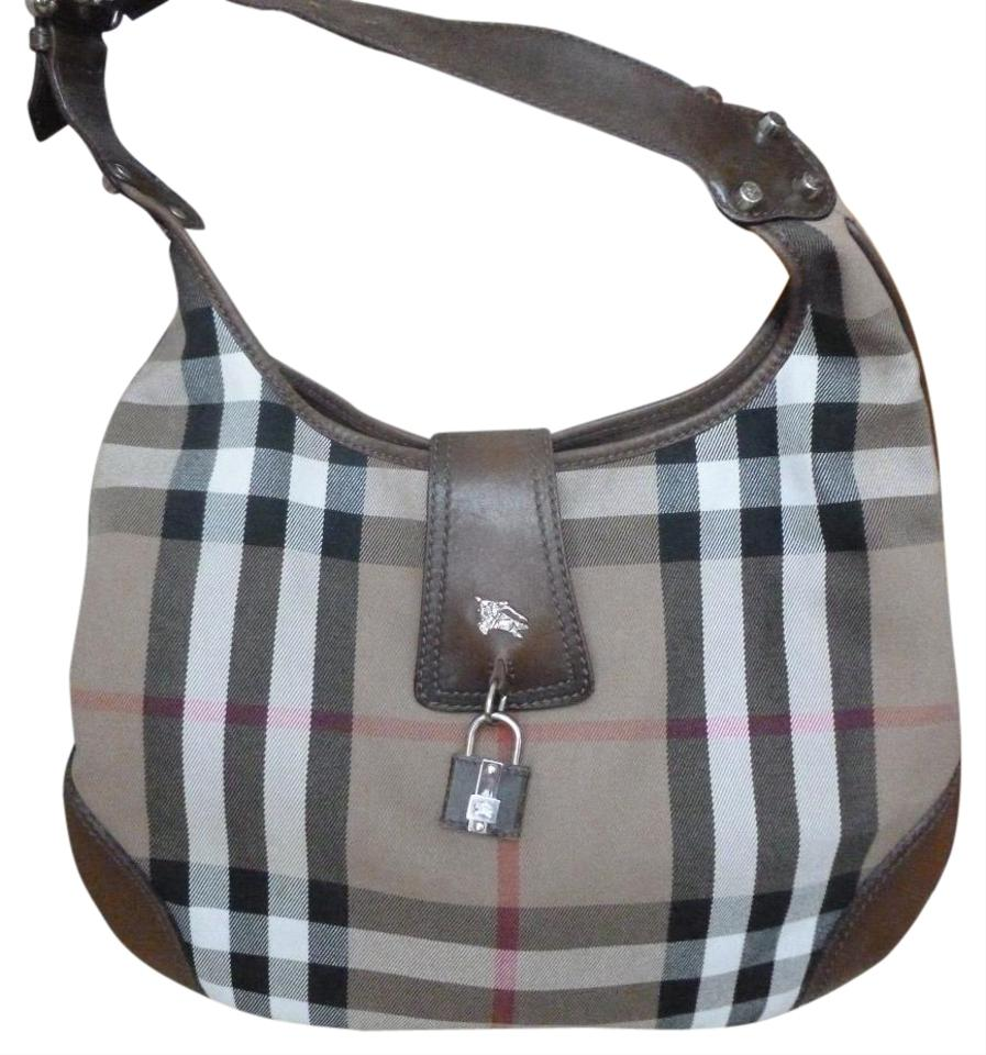 199b0f94f36c Burberry House Check Shoulder Brown Canvas Leather Hobo Bag - Tradesy