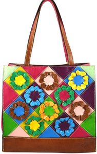 Patricia Nash Designs Tote in pink blue floral cut out flower