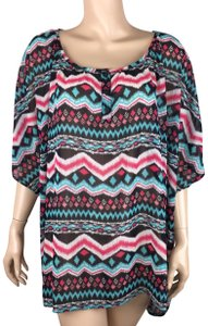 Massini Abstract Pattern Hi Lo Polyester Casual Top Multicolor