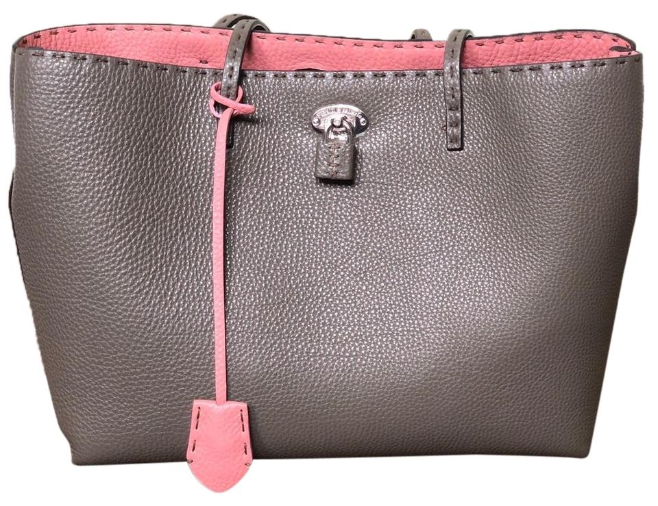1575137b8ebd Fendi Carla Military Green Exterior and Pink Interior Leather Tote ...