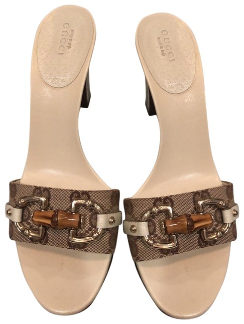 Item - Brown and Cream Slides with Iconic Bamboo Detail Buckle Sandals Size US 8 Regular (M, B)