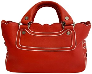 Céline Leather Handbag Limited Edition Piping Like New Tote in Orange White