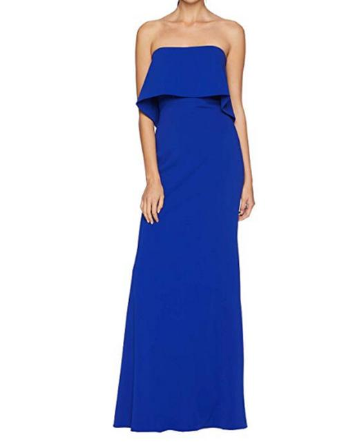 Item - Blue Popover Gown Long Formal Dress Size 6 (S)