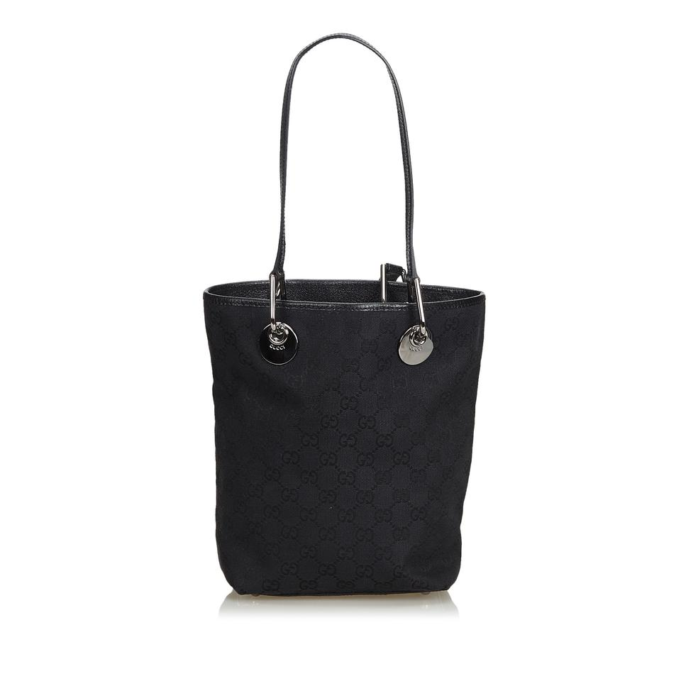 5bbd65cec1c7 Gucci Bag Eclipse Jacquard Fabric Gg Jacquard Italy Large Black Blend Leather  Tote - Tradesy