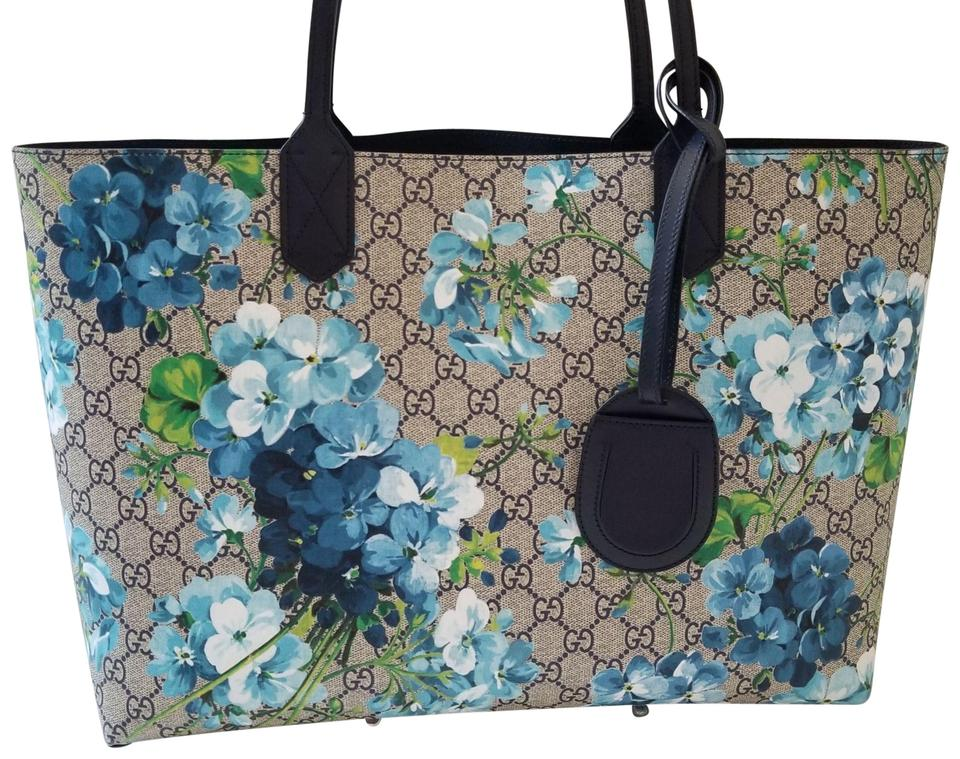 260f9f9915f Gucci Reversible Gg Supreme Floral Blooms Shoulder 368571 Blue Leather Tote