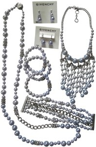 Givenchy Lilac Pearl Crystal Necklace Bracelet Earrings 8 Piece Jewelry Set