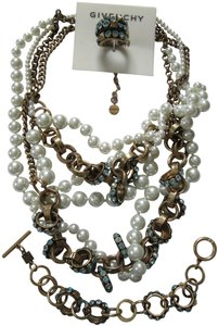 Givenchy Pearl Blue Crystal Link Necklace Bracelet Ring 3 Piece Jewelry Set