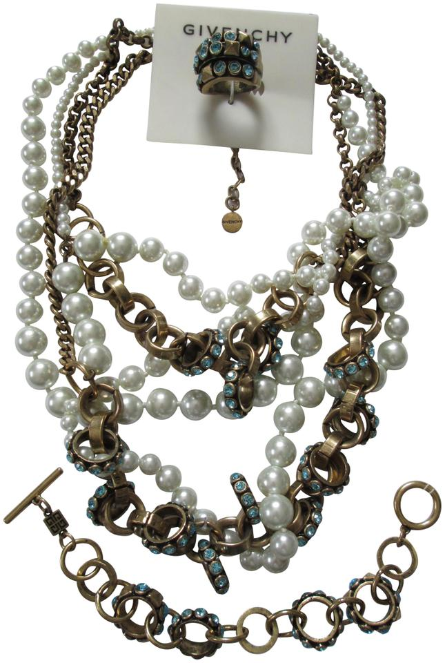 28a2cf21b7b Givenchy White Blue Gold Pearl Crystal Link Bracelet Ring 3 Piece Set  Necklace