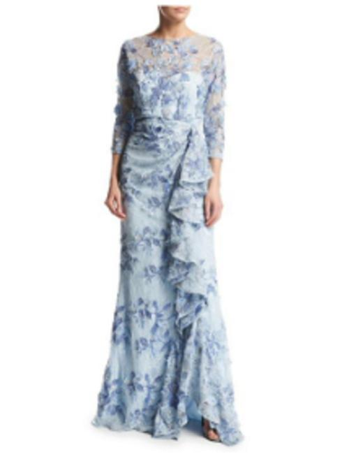Item - Blue 3/4-sleeve Embroidered Lace Gown Light Long Formal Dress Size 2 (XS)