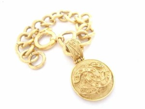 Chanel Gold Plated Cc Logo Coins W/ Chain Bracelet