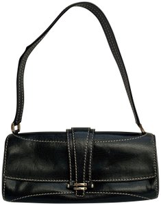 Céline Leather Handbag Exposed Stitching Shoulder Small Wristlet in Black White