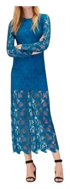 Item - Turcoise Blue 1(S) Lace Open Long Night Out Dress Size 6 (S)