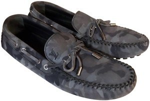Louis Vuitton Camo Moccasins Slippers Loafers Grey Mules