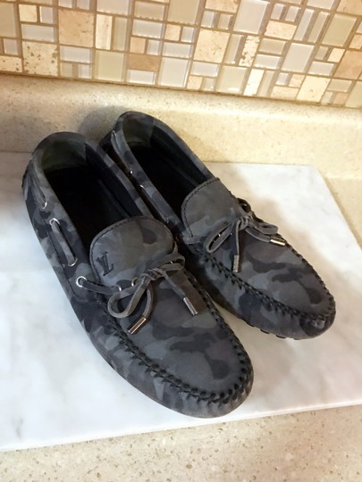 Louis Vuitton Camo Moccasins Slippers Loafers Grey Mules Image 1