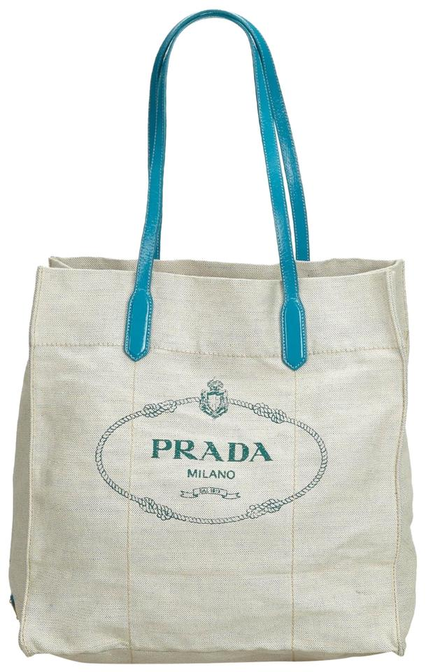 c99d7ba94fd79f Prada Bag Canapa Fabric Italy White Canvas Patent Leather Tote - Tradesy