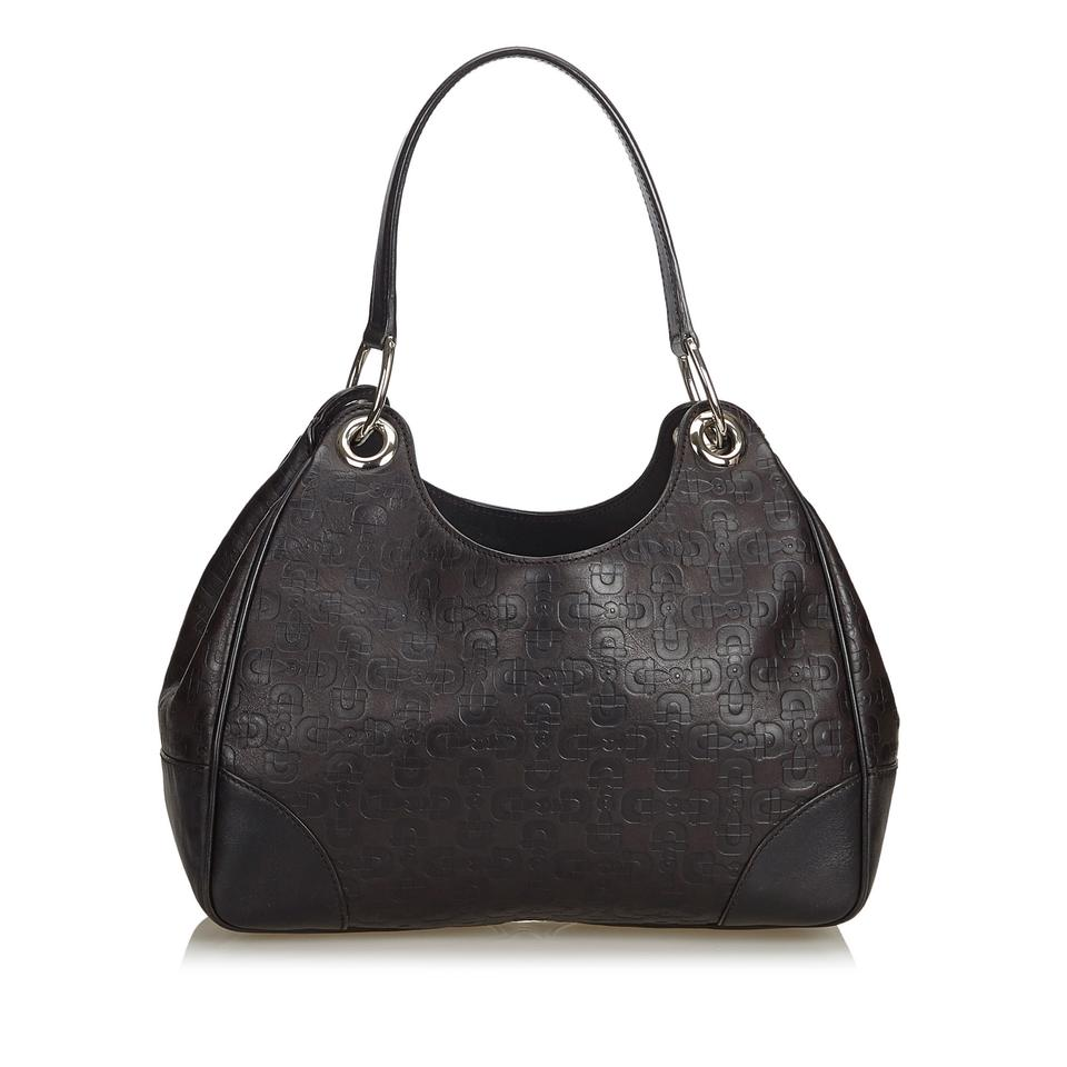 35a65618 Gucci Horsebit Embossed Italy W Dust Brown Leather Hobo Bag 58% off retail