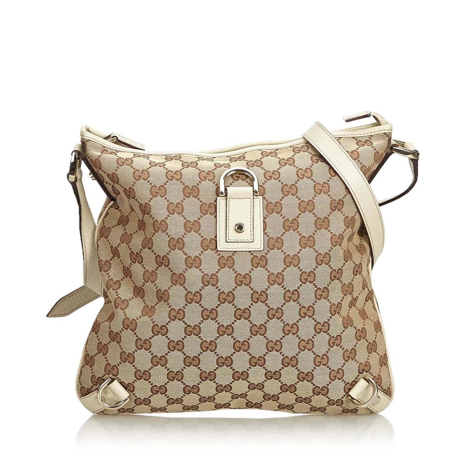 52705f6ffb8 Gucci Abbey Beige Jacquard Fabric Gg Italy Brown Blend Leather Cross ...