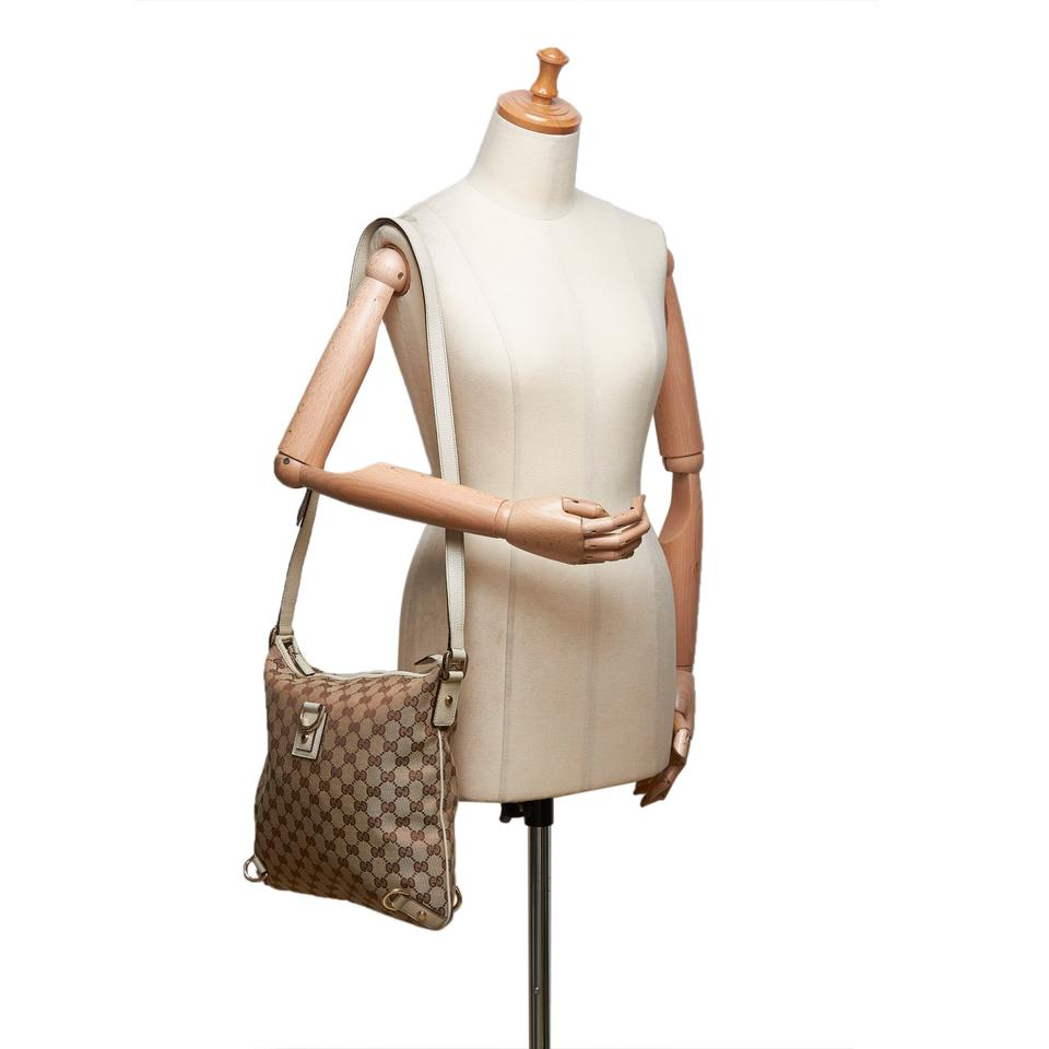 c1140aa0a Gucci Abbey Gg Jacquard Italy Large Brown Blend Leather Cross Body Bag 54%  off retail