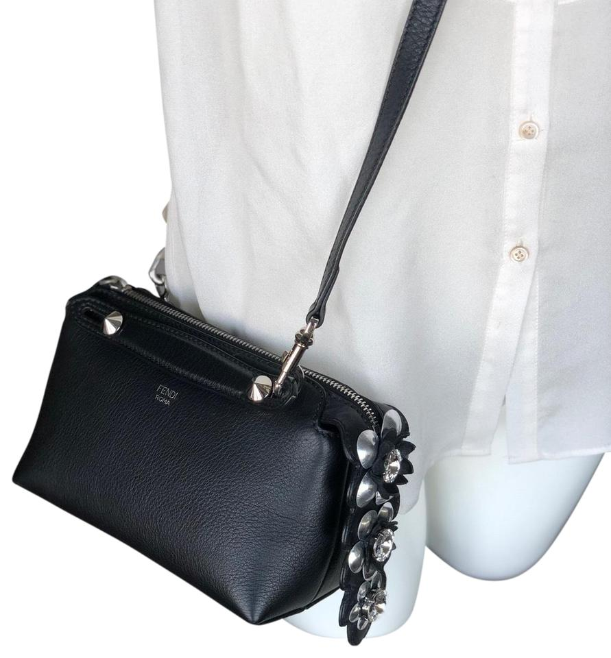 ea0ac80fb1 Fendi By The Way Mini Flower Tail Black Calfskin Leather Cross Body Bag