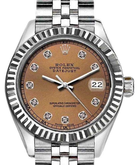 Item - Silver and Brown 36mm Datejust with Diamond Dial Watch