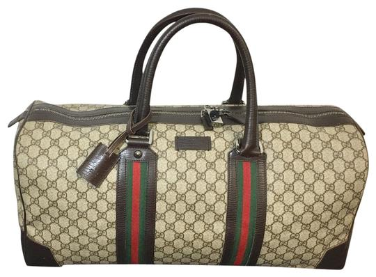 5bdeec0970f Gucci Unisex Bag Keepall Brown Coated Canvas Weekend Travel Bag ...