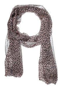 Saint Laurent Saint Laurent Women's Pink Silk & Wool Blend Leopard Print Scarf