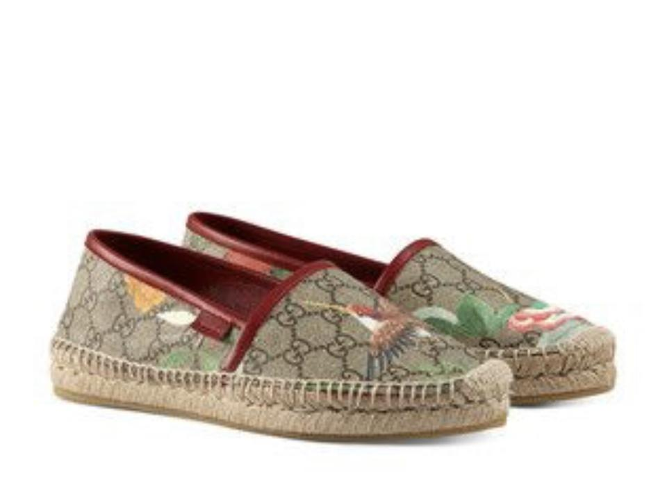 dbf2e54f2 Gucci Tian Leather-trimmed Printed Coated Canvas Espadrille Flats ...