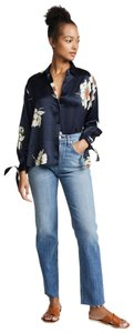 Vince Floral Classic Pretty Girly Chic Top Navy