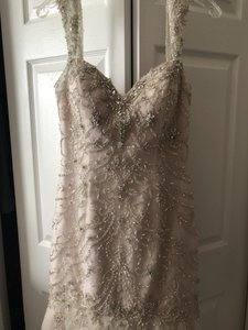 Maggie Sottero Mint/ Pewter Ivory Overlay (Looks Blush) Satin Underneath with Beaded Lace Vintage Wedding Dress Size 8 (M)