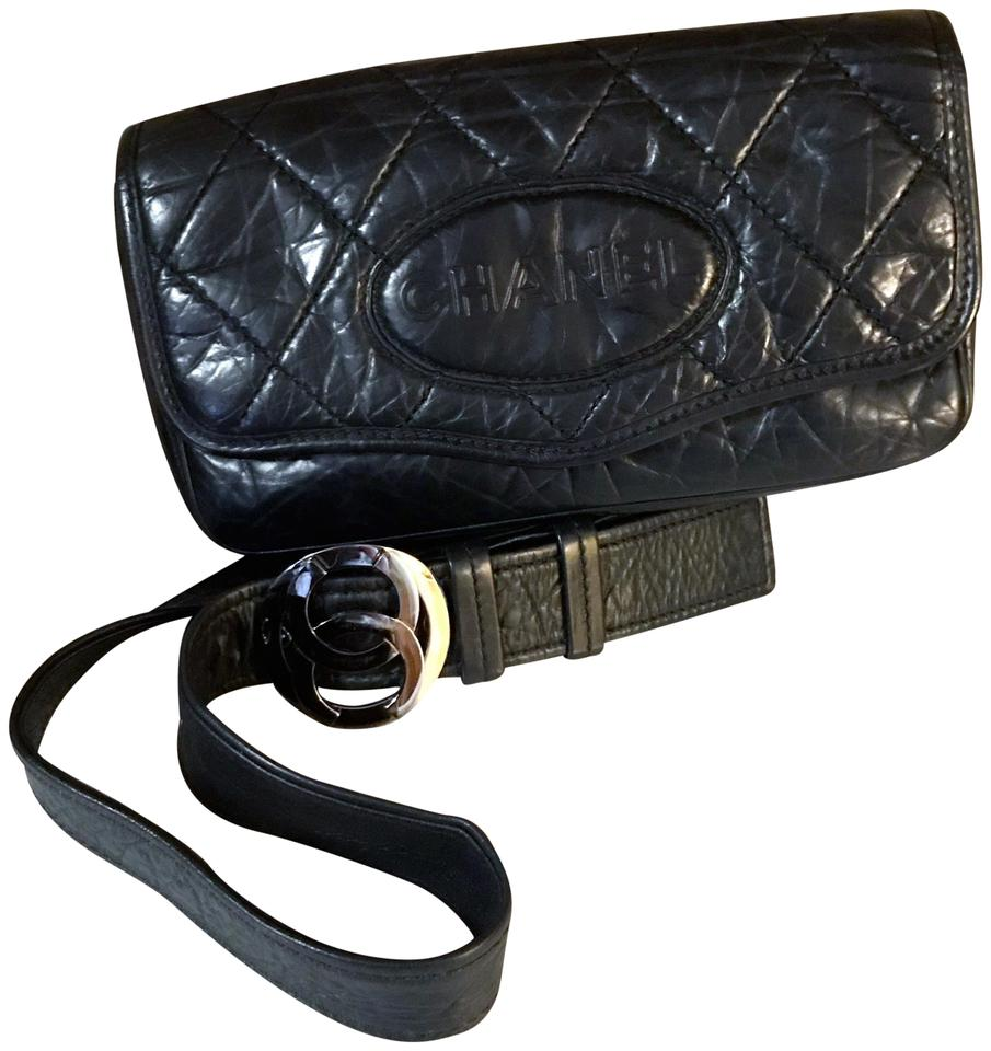 0cf2731953fb Chanel Waist Bag Rare Vintage Bum / Fanny Pack / Black Lambskin Leather  Cross Body Bag