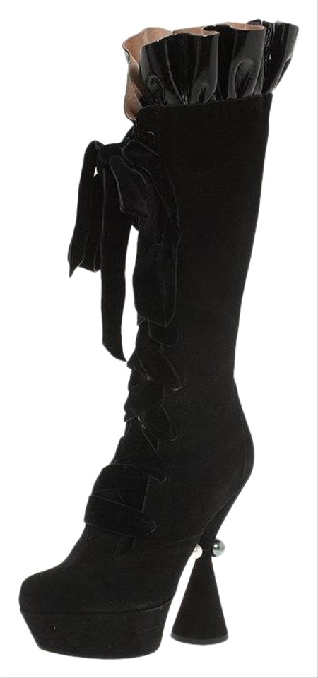 a9607969840 Louis Vuitton Black Suede and Patent Ruffle Cancan Velvet Lace Up Knee  Boots Booties