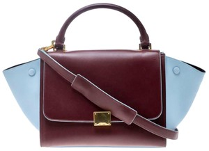Céline Trapeze Small Trapeze Bicolor Trapeze Satchel in Multicolor Red Burgundy Azure Smooth