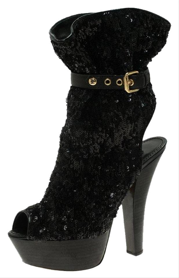 2f11a9391 Louis Vuitton Black Sequins and Leather Peep Toe Platform Ankle Boots/ Booties
