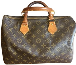 Louis Vuitton Canvas Lv Speedy Satchel in Damier Monogram