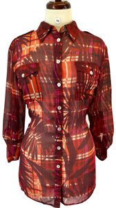 Ruby Rd. Button Down Shirt Red