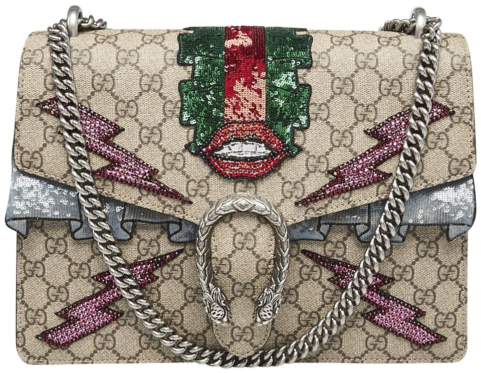5d28d0eeb79b Gucci Dionysus Embroidered Sequin Beige Gg Supreme Canvas Shoulder ...